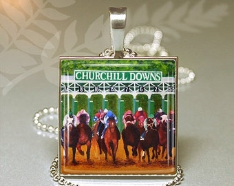 Kentucky Derby Necklace Churchill Downs Horse Racing Equestrian Derby Day Party Favor Silver Pendant Altered Art