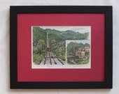 Antique Print of Hong Kong - Victoria Park Peak Tram - Already Matted, Ready to Frame - 1888 Vintage Print - Gift for Her - Gift for Him