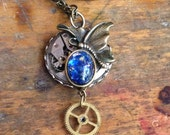 Butterfly with Black Opal Stone and Gear Steampunk Necklace