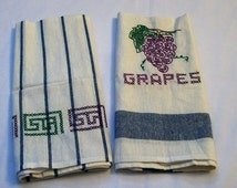 Towel with Embroidery, Grapes Towels, Embroidered Dish towel, Hand Embroidery, Kitchen Towel