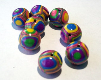 Round Handmade Beads - Polymer Clay - Klimt Pattern - Bright Summer Colors