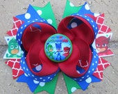 PJ Masks Inspired Custom Boutique Hair Bow for Birthday Party or Anytime Disney Junior - choose from a 5 inch hair bow or 2 pigtail bows
