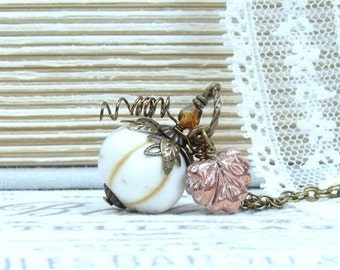 White Pumpkin Necklace Squash Necklace Harvest Necklace Fall Necklace Pumpkin Jewelry Pumpkin Gift