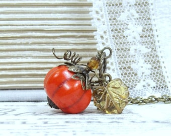 Pumpkin Pendant Necklace Autumn Necklace Pumpkin Necklace Fall Necklace Pumpkin Jewelry Pumpkin Gift