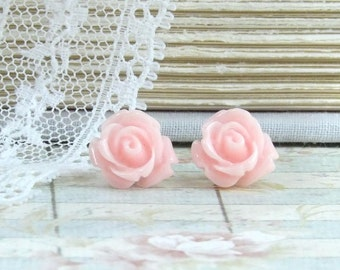 Pink Flower Earrings Rose Studs Pink Rose Earrings Rose Stud Earrings Hypoallergenic Pink Flower Studs