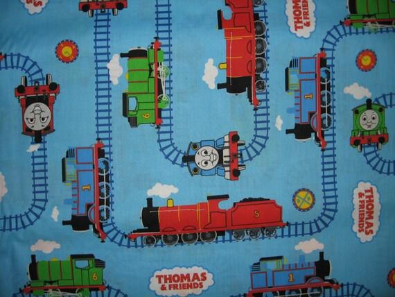 Thomas the train tank fabric by the yard tracks characters for Train fabric by the yard
