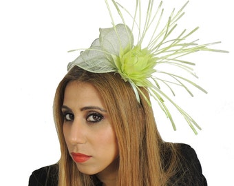 Lime Green Rita Fascinator  Hat for Weddings, Occasions and Parties With Headband