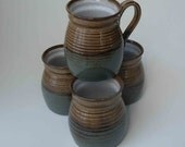 Set of 4, READY TO SHIP, Handmade, Brown and Blue Gray with Speckled White Stoneware Mugs, Wedding Gift, Kitchen Coffee Mugs