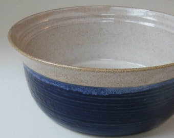 Deep Kitchen Casserole, Ovenware, 18 Cup Serving Bakeware, Deep Blue with Speckled White Dish Oven to Table Stoneware Dish
