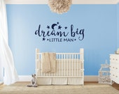 Dream Big Little Man Monogram Wall Decal - Vinyl Wall Sticker Decal Indoor Decor Decoration - White, Black, Blue, Gold, - artstudio54