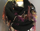 Knit Black wide infinity scarf - Fringed 'Showstopper' - Glitzy Ribbon Fringed Knit Round Loop Infinity or Poncho, black cowl, wraps, boho