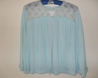 Vintage 60s Lingerie, Miss Elaine Blue Lace Trimmed Bed Jacket.  Size Large