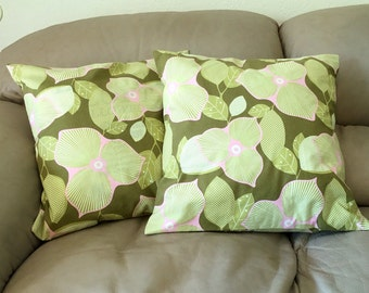 "Decorative Throw Pillow Covers, Amy Butler Midwest Modern Floral Fabric, 18"" covers, Olive Green and Pink Pillows, B2"