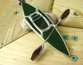 Kayak Stained Glass Suncatcher Boats Lake Water Craft Fathers Day Tree Ornament Sports Christmas Original Design©