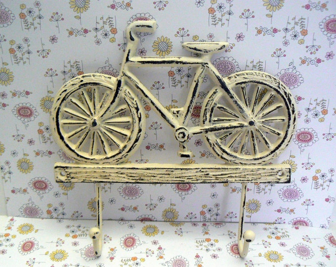 Bicycle Double Wall Hook Shabby Chic OFF White Cast Iron Home Decor