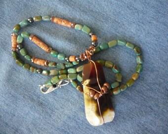 Southwestern Splendor Necklace - Agate Pendant w/Turquoise - Spiny Oyster - Hematite - Copper