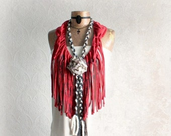 Fringe Infinity Scarf Red Tribal Necklace Hippie Chic Clothing Women Boho Scarf Upcycle Bohemian Clothes Artsy Funky Style Mori Girl 'SUMNER