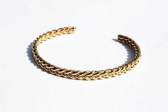 Gold Braid Bracelet- Solid 5 karat gold-READY TO SHIP