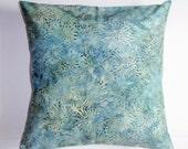 "Throw Pillow Cover, Starburst in Watercolor Green Throw Pillow Cover, Accent Pillow, Teal Blue Pillow Cover, Batik Fabric, 16x16"" Square"