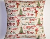 "CHRISTMAS Throw Pillow Cover, T'was the Night Before Pillow Cover, Accent Pillow Cover, Holiday Inspirations Christmas Pillow, 16x16"" Square"