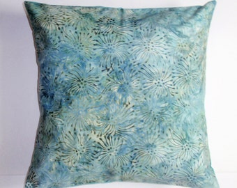 "Throw Pillow Cover, Starburst in Watercolor Green Throw Pillow Cover, Accent Pillow, Teal Blue Pillow Cover, Batik Fabric, 16x16"" Square"