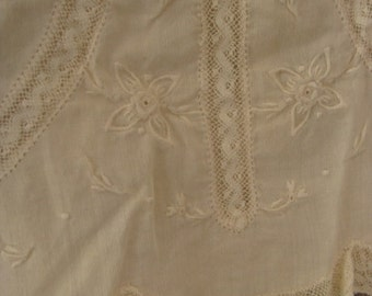 Antique  Embroidered White Cotton Baby Doll Dress N0402