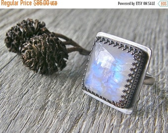 Summer Sale Moonstone Cocktail Ring, Sterling Silver Large Stone Ring, Blue Flash Statement Adjustable Stone Ring