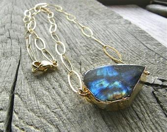 Large Rough Cut Labradorite Slab and Gold Chain Necklace, Extra Long Specimen Necklace, Blue Flash Stone