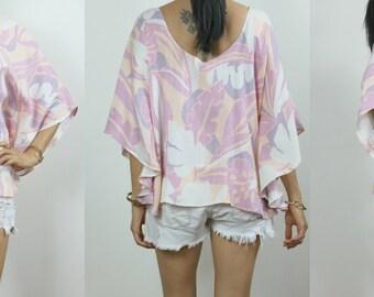 Vintage Upcycled Pink Multi Pastel Abstract Deco Leaf Print Scoop Back Boho Caftan Top S/M
