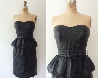 leather dress / strapless dress / Regeant Leather dress