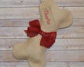 Personalized Burlap Dog Bone Stocking - Dog Christmas Stocking - Personalized Pet Stocking - Dog Burlap Stocking with Red Burlap Bow