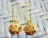 SALE Golden Sand Dollar dangle Earrings