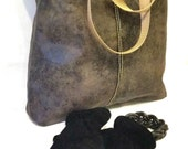 READY TO SHIP Vegan Suede Tote Bag in Stone Grey with Bronze Chain Trim, Large