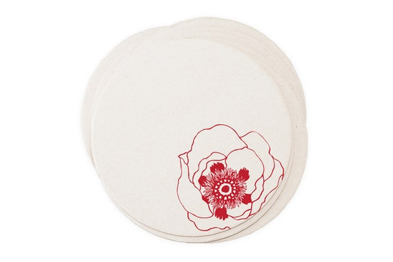 Vintage Poppy Flower - Letterpressed Paper Coasters