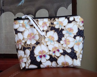 White Orchids Make Up Pouch / Wristlet / Cell Phone Bag / Organizer