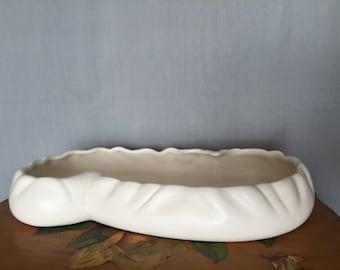 Haeger Bowl White Ceramic Pottery Vintage Distressed Dish Succulent Garden Planter Tray Fairy Garden