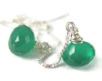 Green Threader Earrings Sterling Silver Gemstone Earrings Long Ear Threads Wire Wrapped Green Onyx