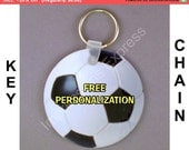 Soccer Sports Ball Personalized Round Double Sided Key Chain