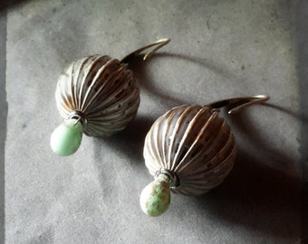 Globe earrings distressed white patina Distant Past