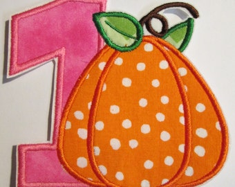 Number ONE Pumpkin Birthday - Iron On or Sew On Embroidered Applique - Ships FAST