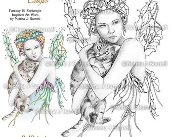 fairy dragon queen fairy tangles grayscale coloring sheets - Coloring Pages Dragons Fairies