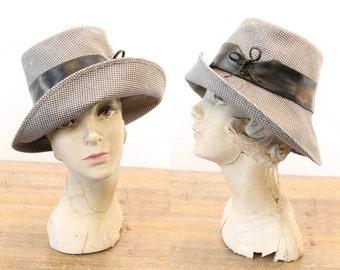 70s Hat Houndstooth Fedora / 1970s Vintage Bucket Hat / Gertrude Fedora