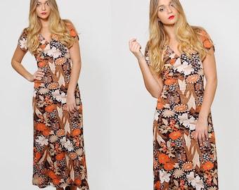 Vintage 70s FALL Floral Maxi Dress Boho Dress Short Sleeve PRINTED Dress