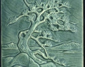 Twisted Japanese Pine Tree - Ceramic Tile in Muted Aqua Glaze - Craftsman Style Decorative Art Tile