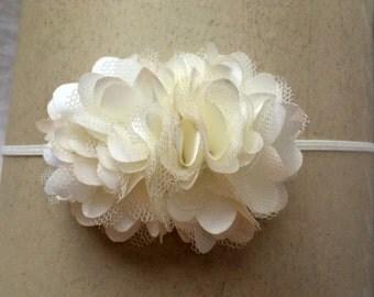 Ivory Satin and Tulle Flower Headband - Dainty Flower Hair Bow - Baby Flower Headband - Ivory Flower Headband - Girl's Hair Bow