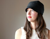KINN JONES ---x--- Women's cloche styled hat, made from vintage wool in 'Midnight Chic' - Custom Order