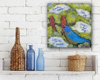 Birds and Words Modern Whimsical Painting Original Art for Nursery for Bird Lover Contemporary Home Decor Daily Reminder Life Lessons