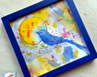 Colorful Bird Watercolor Painting Contemporary Abstract Whimsical Art in Frame for Nursery Fine Art yellow sunshine blue bird ready to ship