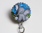 Sweet Grey Elephant and Friend ID Badge Reel - Retractable ID Badge Holder - Zipperedheart