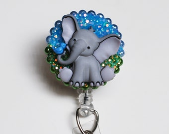 Sweet Grey Elephant and Friend ID Badge Reel - Retractable ID Badge Holder - Zipperedheart